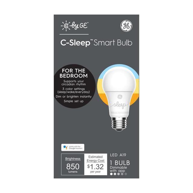 Emballage avant de GE C by GE Sleep 60 -Watt EQ A19 Soft White Dimmable Smart LED Light Bulb (L'emballage peut varier)