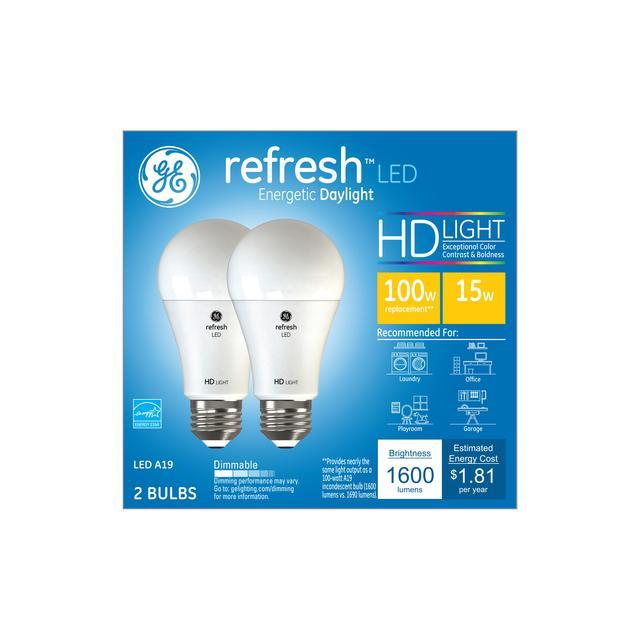 Ensemble avant de GE Refresh HD Daylight 100W Ampoules A19 light à usage général à usage général (2-Pack)