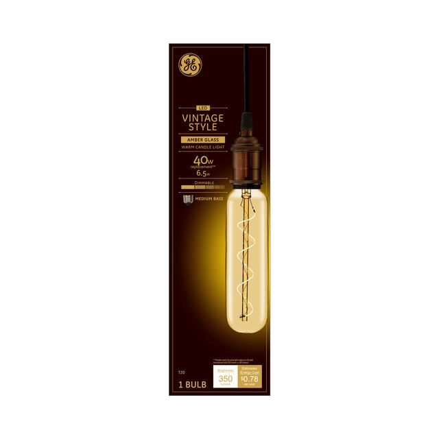 Emballage avant de GE Vintage Warm Candlelight 40 W Remplacement LED Amber Finish Spiral Filament Décoratif Base Moyenne T20 Ampoule (1-Pack)