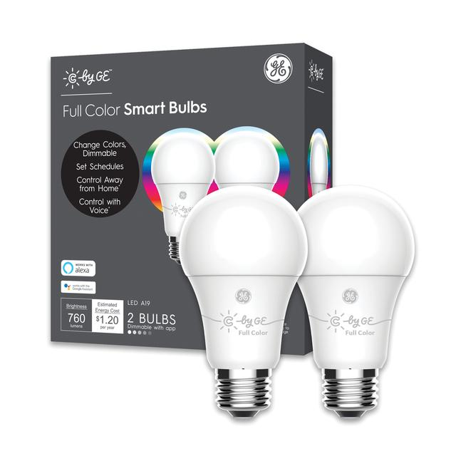 Emballage avant d'ampoules LED C by GE Full Color A19 Smart (2-Pack)