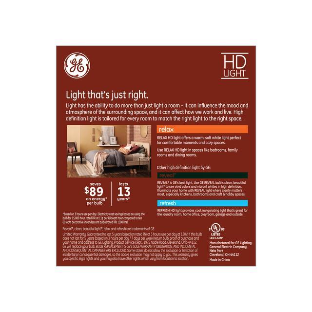 Paquet de dos de Relax HD Soft White 60W Remplacement LED Clear Décoratif Bent Tip Candelabra Base CAC Ampoules de lumière (3-Pack)