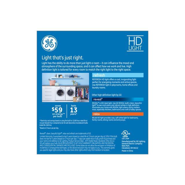 Paquet arrière de Refresh HD Daylight 40W Clear Decorative Blunt Tip Candelabra Base BC Light Bulbs (3-Pack)