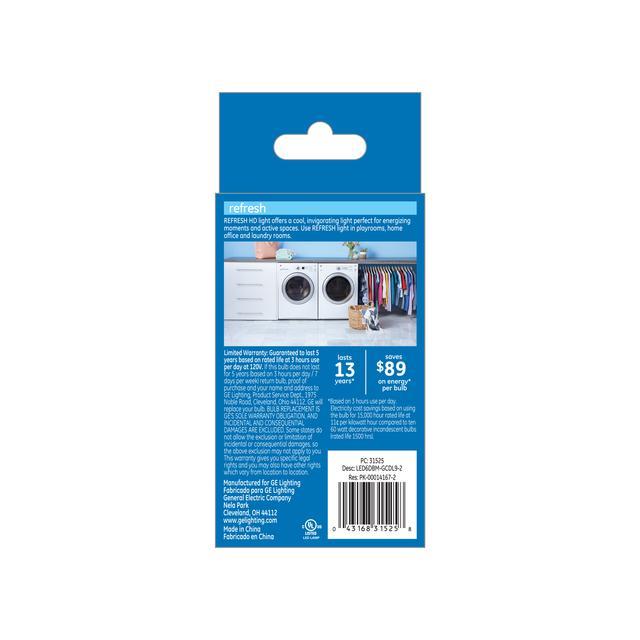 Paquet arrière de GE Refresh HD Daylight 60W Ampoules LED de remplacement Décoratif Clear Blunt Tip Medium Base BM (2-Pack)