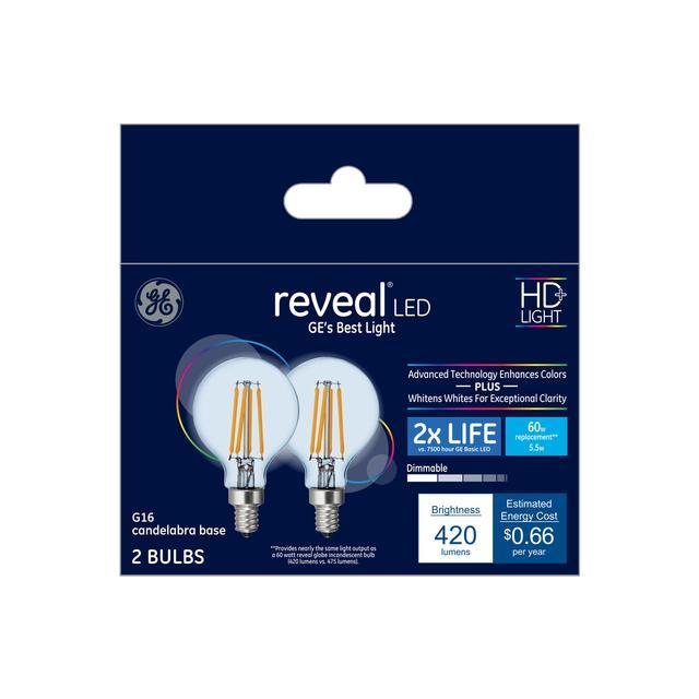 Paquet avant de GE Reveal HD+ Color-Enhancing 60 W Remplacement LED Décoratif Clear Globe Candélabre Base G16.5 Bulb