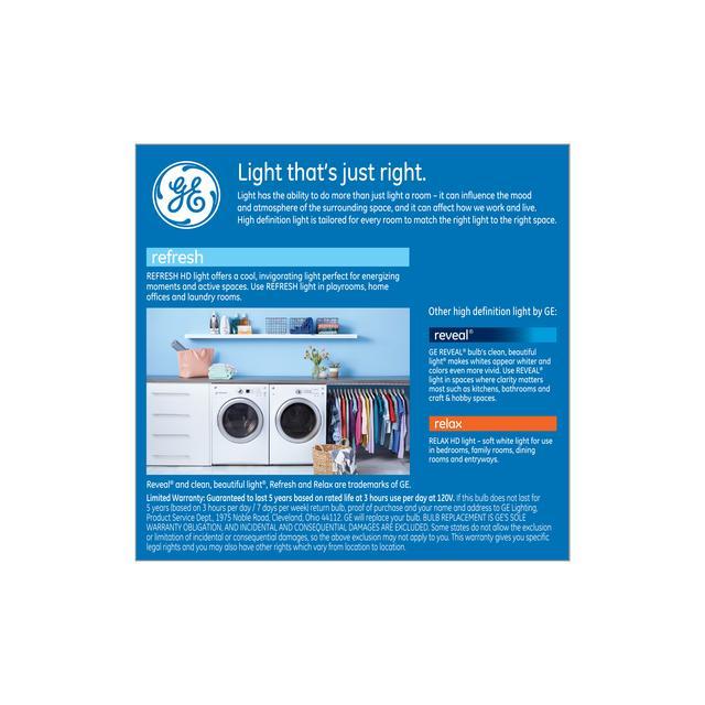 Paquet arrière de GE Refresh HD Daylight 100W Remplacement LED Ampoules A19 Light (2-Pack)