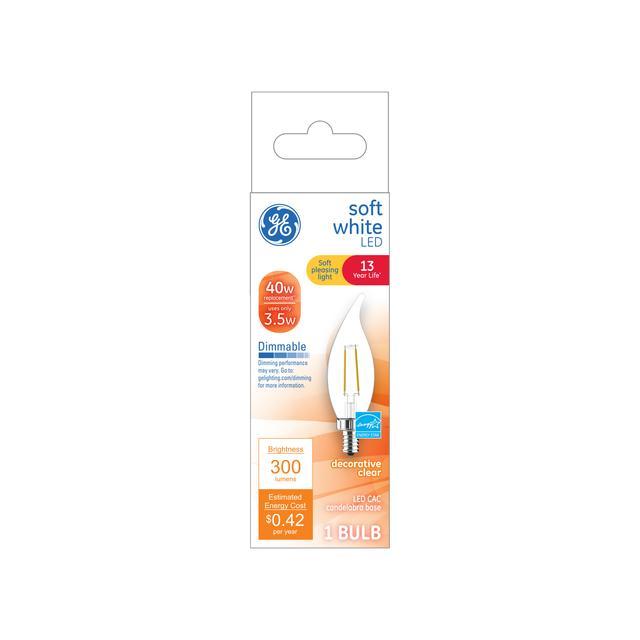 Paquet avant de GE Soft White 40 W Remplacement LED Décoratif Clear Bent Tip Candélabre Base CAC Ampoules de lumière