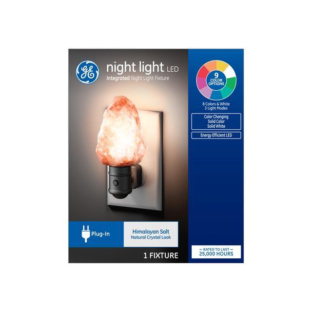 Emballage avant de GE Night Light LED Himalayan Salt Color-Changing Decorative Plug-in Fixture (1-Pack)