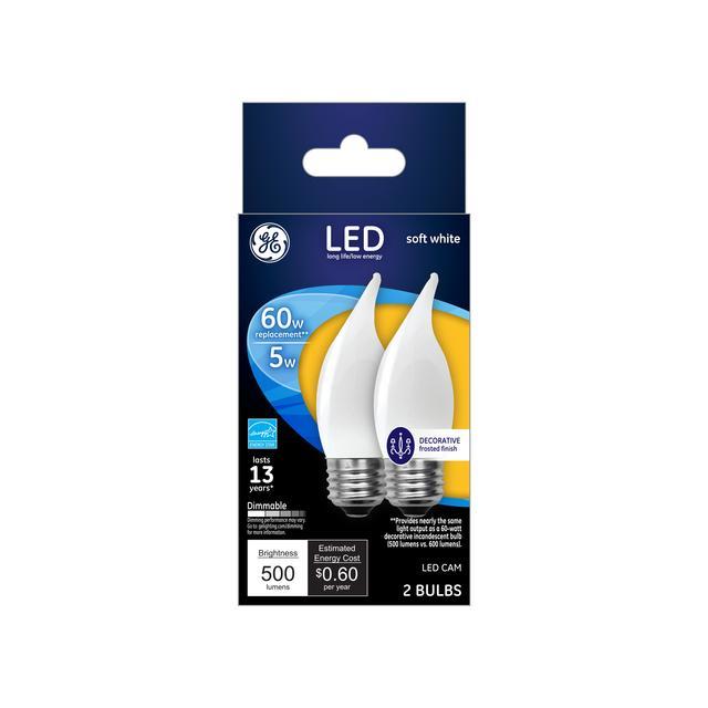 Paquet avant de GE Soft White 60 W Remplacement ampoules LED Décorative White Bent Tip Base moyenne CAC (2-Pack)