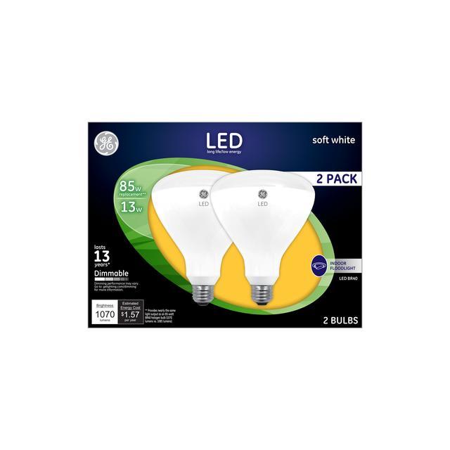 Ensemble avant de soft white LED 85 W Remplacement Indoor Floodlight BR40 Light Bulbs (2-Pack)
