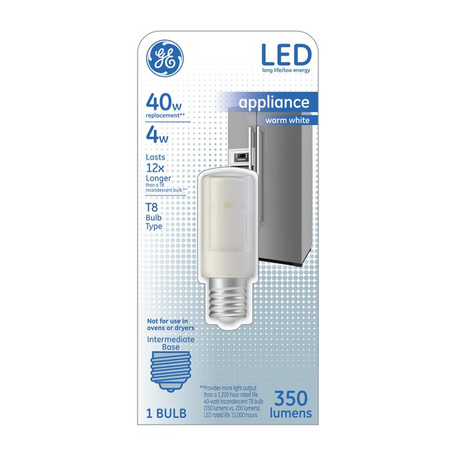 Front package of GE Warm White LED 4W T8 bulb (1-pack)