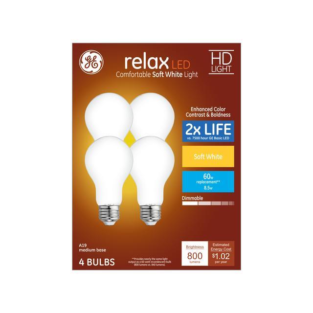 Ensemble avant de GE Relax HD Soft White 60 W Remplacement LED General Purpose A19 Light Bulbs (4-Pack)