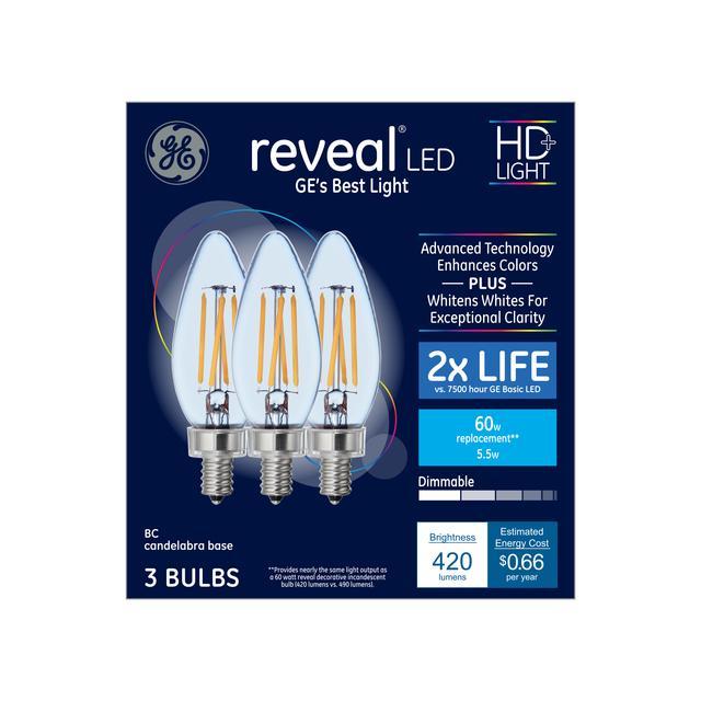 Ensemble avant de Reveal HD+ Color-Enhancing 60 W Replacement LED Decorative Clear Blunt Tip Candelabra Base BC Bulb