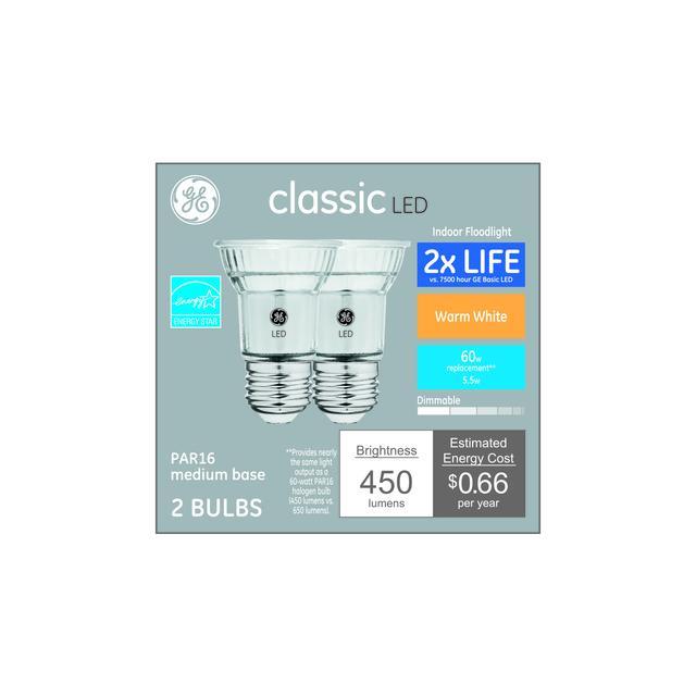 Paquet avant de GE Classic Warm White 60 W Remplacement AMPOULE LED Projecteur intérieur PAR16 (2-Pack)