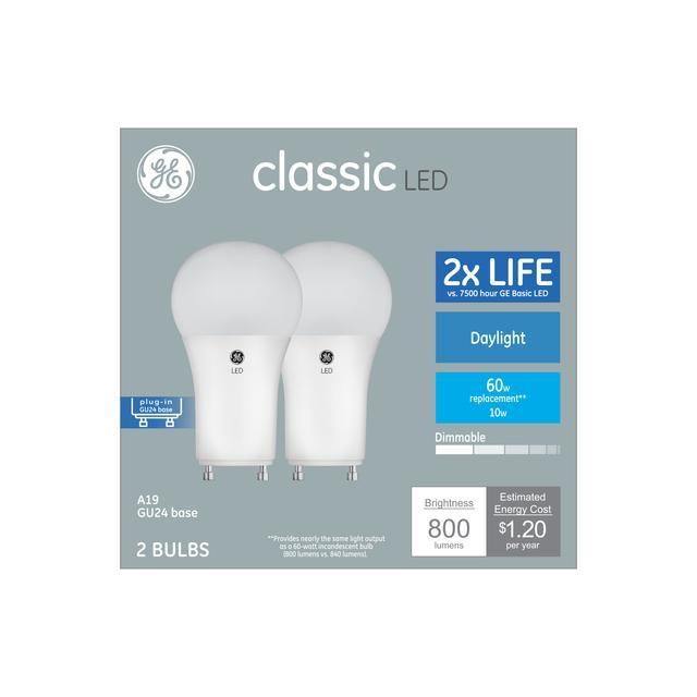 Emballage avant d'ampoules de remplacement classic daylight 60 W à usage général GU24 Base A19 light (2-Pack)