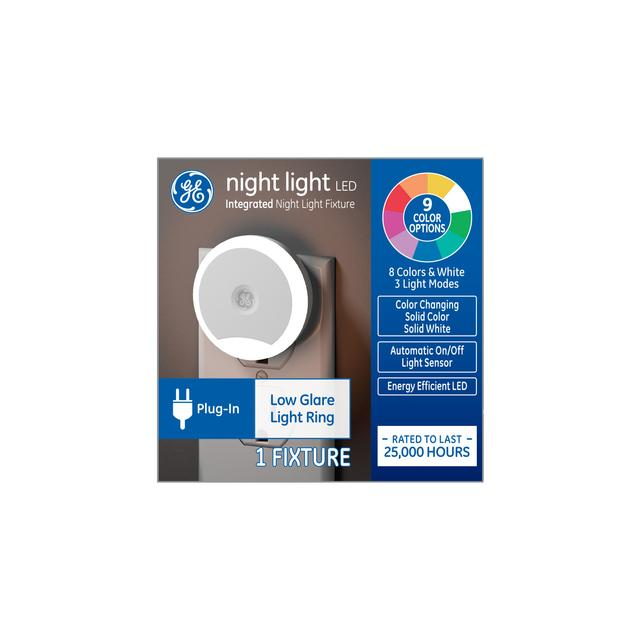 Emballage avant de GE Night Light LED Ring Color-Changing Decorative Plug-in Fixture (1-Pack)