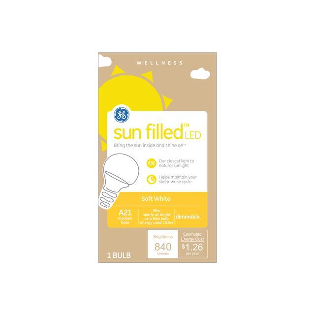 Paquet avant de GE soleil rempli Soft White 60 W Remplacement LED A21 Light Bulb (1-Pack)