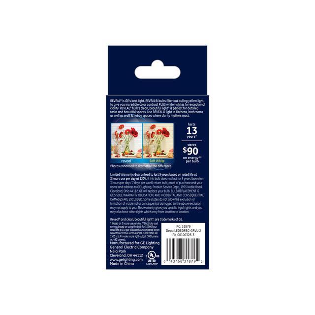 Paquet arrière de GE Reveal HD+ Ampoules de lustre LED de remplacement de 60W améliorant la couleur, 2-Pack, Clair, Pointe émoussée, Ampoules LED de base de candélabre, Ampoule E12, BC