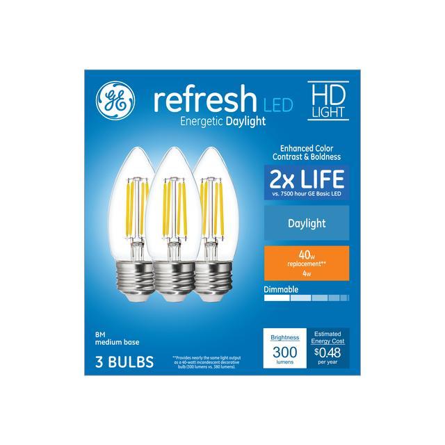 Ensemble avant de Refresh HD Daylight 40 W Clear Decorative Blunt Tip Medium Base BM Light Bulbs (3-Pack)