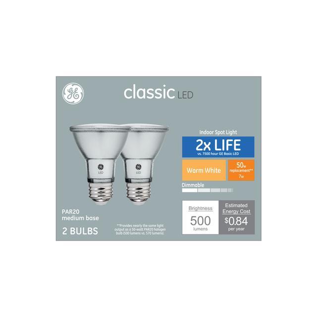 Paquet avant de GE Classic Warm White 50 W Remplacement AMPOULE LED Projecteur intérieur PAR20 (2-Pack)