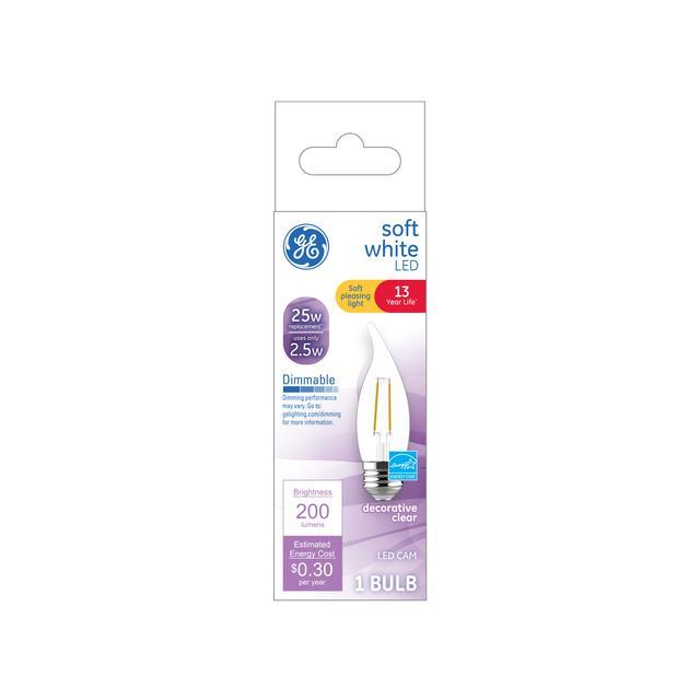 Emballage avant de GE Soft White 25 W Remplacement LED Décoratif Clear Bent Tip Base Moyenne CAM Ampoule lumineuse