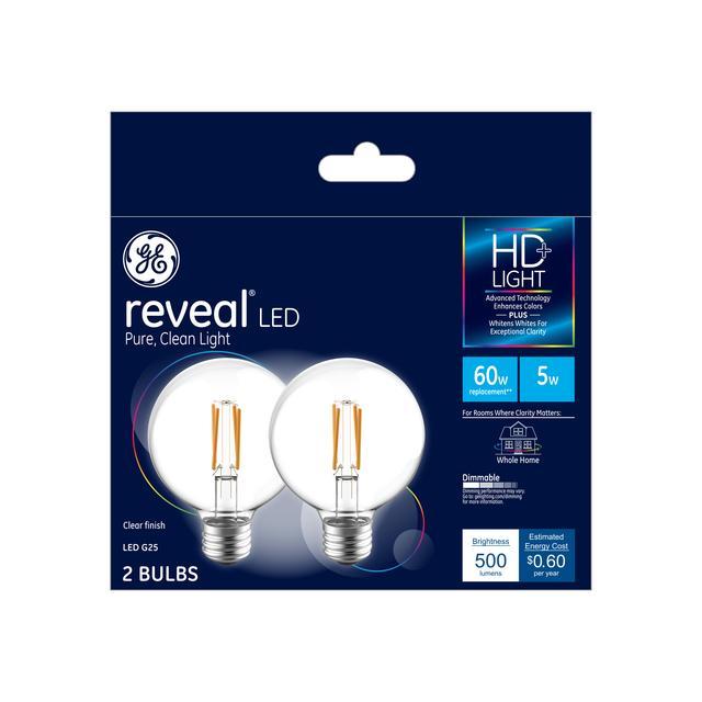 Ensemble avant d'ampoules LED de remplacement de 60 W améliorant la couleur GE Reveal HD+, 2-Pack, Clair, Décoratif, Globe, Ampoules LED dimmables, Base moyenne, G25