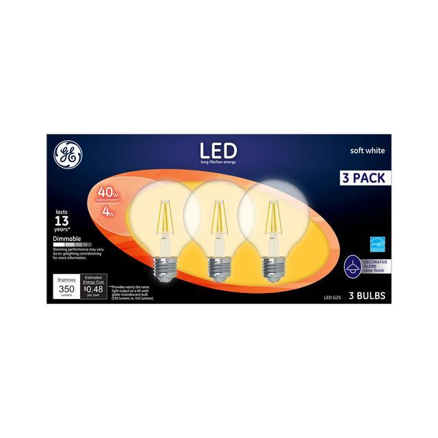 Emballage avant de GE Soft White LED 40 W Remplacement Clear Decorative Globe G25 Ampoules de lumière (3-Pack)