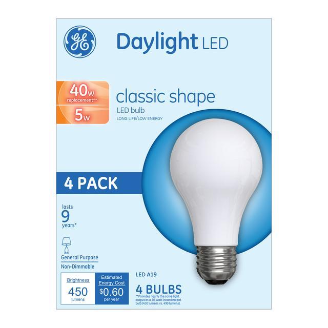 Paquet avant de GE 40 W remplacement lumière du jour ampoule LED usage général A19 (4-Pack)