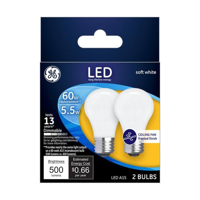 Paquet avant de GE Soft White 60 W Remplacement ampoules LED Ventilateur de plafond blanc Base moyenne A15 (2-Pack)