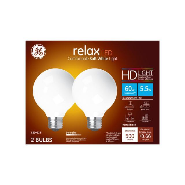 Paquet avant de GE Relax HD Soft White 40W Remplacement ampoules LED Décoratif Globe Clair Base Moyenne G25 (2-Pack)