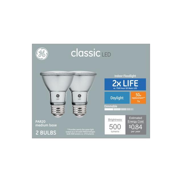 Ensemble avant de GE Classic Daylight 50 W Remplacement LED Ampoule Floodlight intérieure PAR20 (2-Pack)