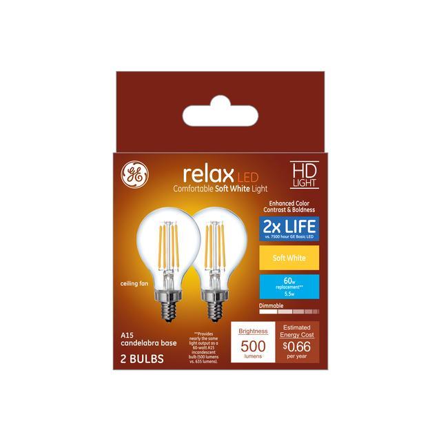 Paquet avant de Relax HD Soft White 60 W Remplacement ampoules LED Ampoules Clear Plafond Ventilateur Candélabre Base Claire A15