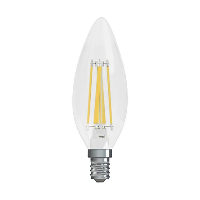 Image du produit de GE Relax HD Soft White 40W Ampoules LED de remplacement Décoratif Clear Blunt Tip Base de candélabre BC (2-Pack)