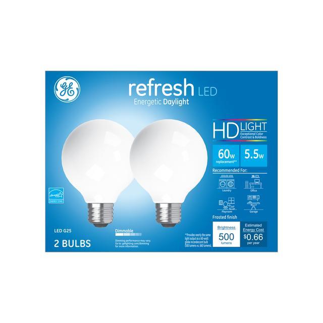 Paquet avant de GE Refresh HD Daylight 60W Ampoules LED de remplacement Globe décoratif Blanc Medium Base G25 (2-Pack)