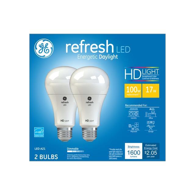 Paquet avant de GE Refresh HD Daylight 100W Ampoules LED de remplacement Blanc Usage général A21 (2-Pack)