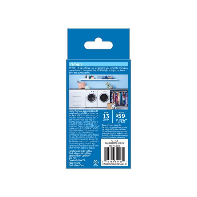 Paquet de dos de GE Refresh HD Daylight 40W Remplacement ampoules LED Ampoules décoratives à pointe claire Candélabre Base CAC (2-Pack)