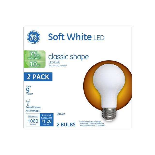 Emballage avant d'ampoules LED de remplacement GE Soft White 75 W Usage général A21
