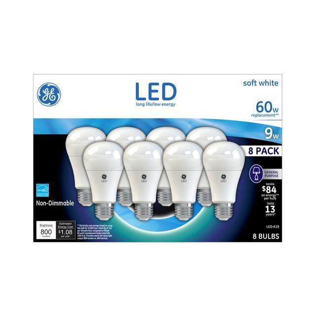 Ensemble avant d'ampoules à LED 60 W à usage général à usage général A19 à usage général GE Soft White (8-Pack)