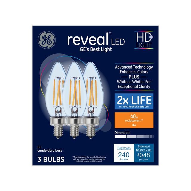 Emballage avant de GE Reveal HD+ Color-Enhancing 40 W Remplacement LED Décoratif Clear Blunt Tip Candélabre Base BC Ampoules de lumière