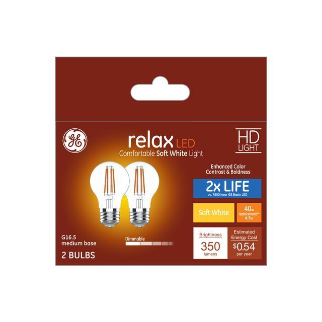 Ensemble avant de GE Relax HD Soft White 40 W Remplacement ampoules LED Decorative Clear Globe Medium Base G16.5