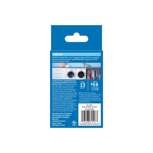 Paquet de dos de GE Refresh HD Daylight 40W Remplacement ampoules LED Décorative Clear Blunt Tip Base moyenne BM (2-Pack)
