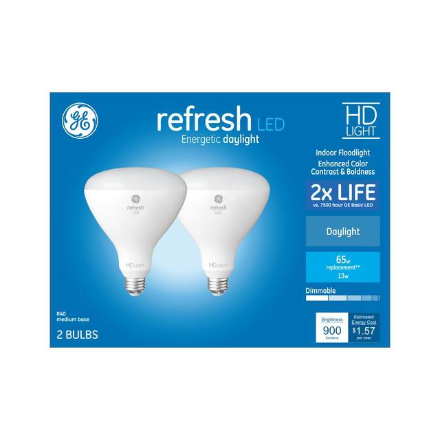 Paquet avant de GE Refresh HD Daylight 85 W Remplacement ampoule LED Floodlight intérieur BR40