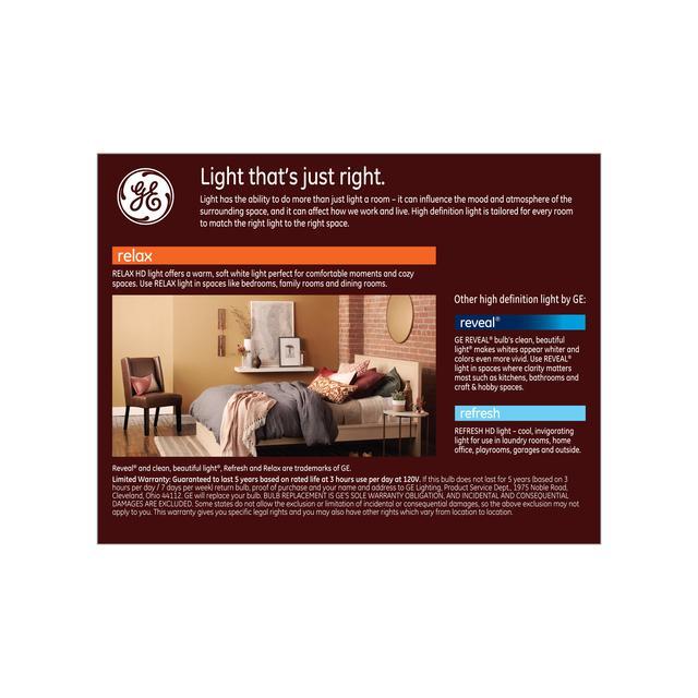 Paquet de dos de GE Relax HD Soft White 40W Remplacement ampoules LED Décoratif Globe Clair Base moyenne G25 (2-Pack)