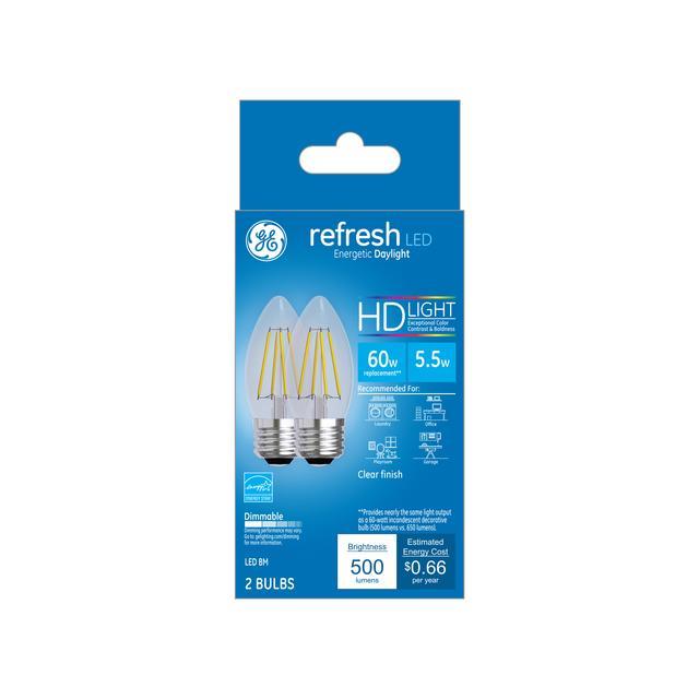Paquet avant de GE Refresh HD Daylight 60W Ampoules LED de remplacement Décoratif Clear Blunt Tip Medium Base BM (2-Pack)