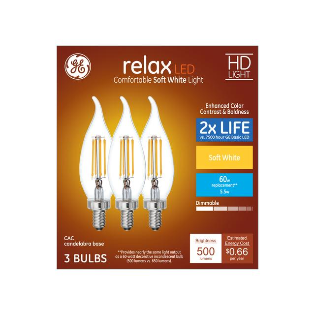 Ensemble avant de Relax HD Soft White 60 W Remplacement LED Clear Decorative Bent Tip Candelabra Base CAC Light Bulbs (3-Pack)