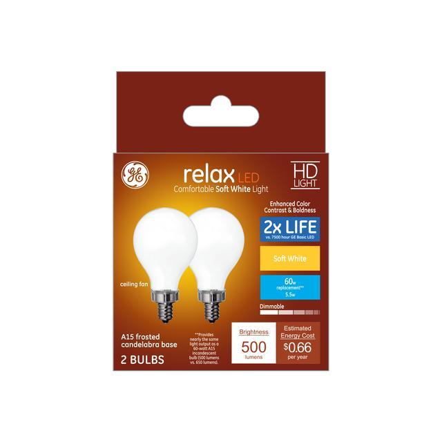 Paquet avant de Relax HD Soft White 60 W Remplacement ampoules LED Ventilateur de plafond Candélabre Base Blanc A15