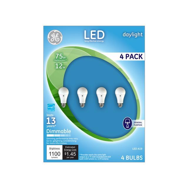 Ensemble avant d'ampoules à usage général à usage général A19 à usage général de GE Daylight 75 W