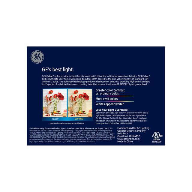 Paquet arrière de GE Reveal HD+ Color-Enhancing 75W Ampoule LED de remplacement Projecteur intérieur Long Neck PAR30