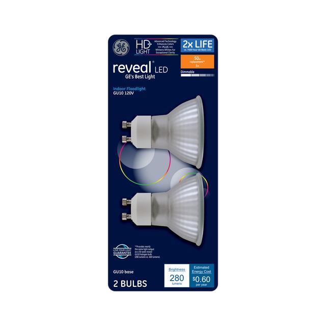 Ensemble avant d'ampoule LED de remplacement GE Reveal HD+ colore 50 W à l'intérieur MR16
