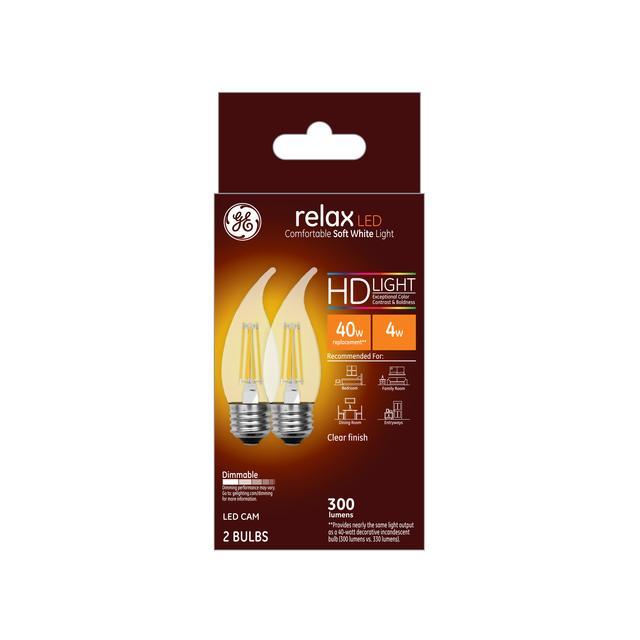 Emballage avant de GE Relax HD Soft White 40W Ampoules LED de remplacement Clear Decorative Bent Tip Medium Base CAM (2-Pack)