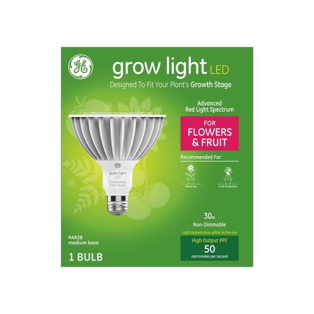 Front package of GE Grow Light LED 30W Advanced Red Light Spectrum PAR38 Light Bulb (1-Pack)